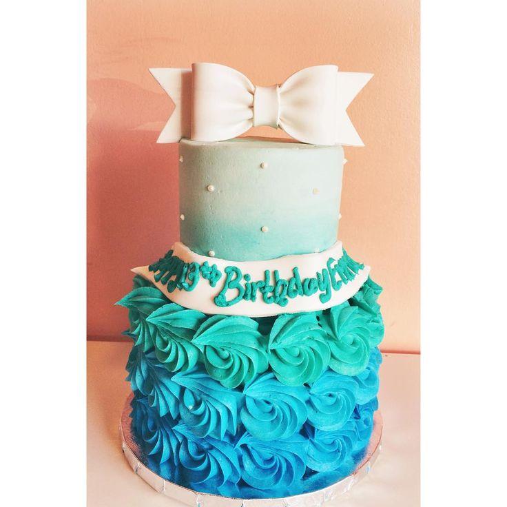 Ombre buttercream cake by 2tarts Bakery#2tartsbakery #ombrerosettes #buttercream
