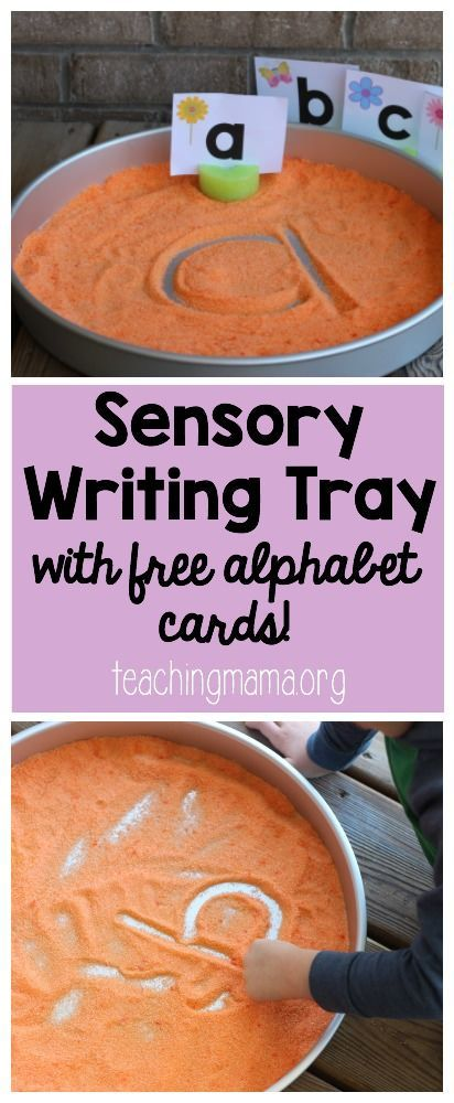 Sensory Writing Tray with Alphabet Cards (Teaching Mama)