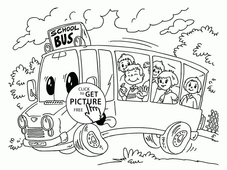 Cartoon School Bus coloring page for kids, back to school