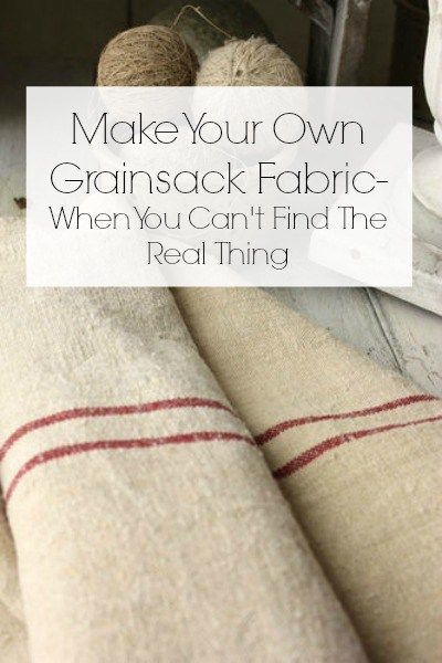 Make Your Own Grainsack Fabric with tape, dropcloth fabric, and some paint! #farmhouse #diy #grainsackfabric