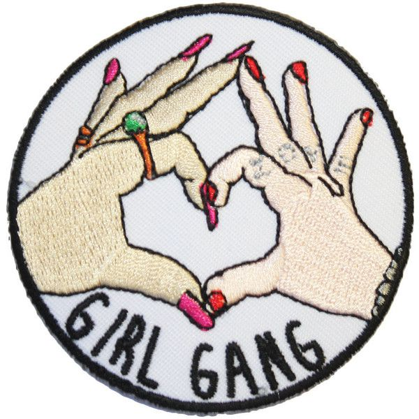 Girl Gang Iron On Patch Embroidery Sewing DIY Customise Denim Cotton... ($2.60) ❤ liked on Polyvore featuring home, home improvement and accessories