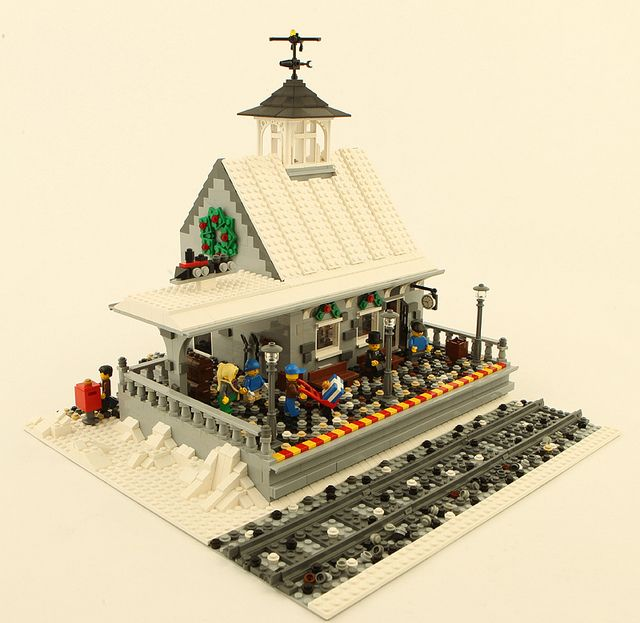 Lego Christmas: Train depot for Winter Village layout by tater-tots, via Flickr