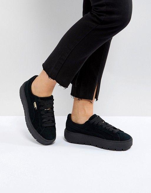 8415551135dd39 Puma Platform Trace Triple Black Sneakers