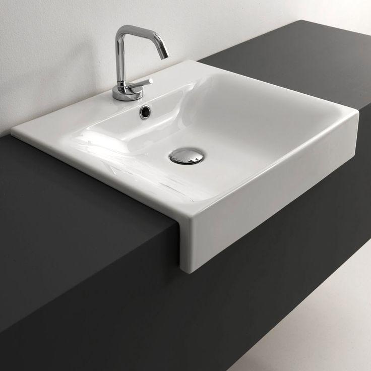 "Cento 3546 Semi-Recessed 19.7"" x 17.7"" Bathroom Sink"