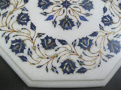 "12.5"" Marble Handicraft Table Top Semi Precious Stone Gemstone Inlay Persian Art"