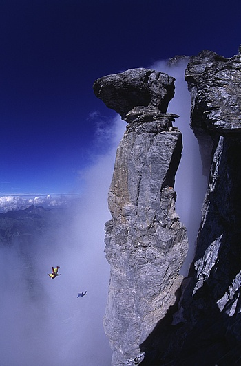 Category Finalist 2007: Wings  Photographer: Thomas Ulrich  Athletes: Mike Robinson, Dave Major  Location: Pilz, Eiger, Switzerland