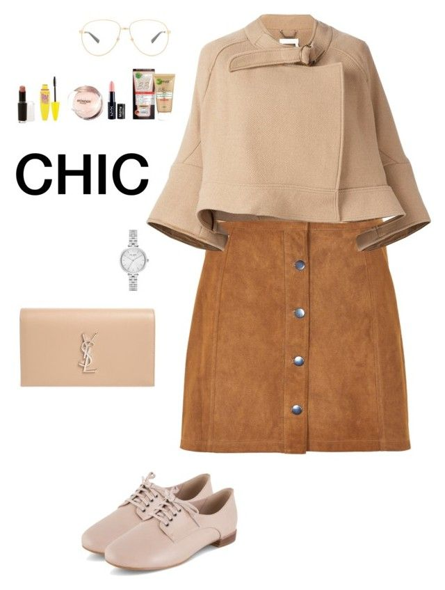 """Line Skirt x Pantofel Shoes"" by irisazlou on Polyvore featuring mode, Soaked in Luxury, Chloé, Clarks, Kate Spade, Yves Saint Laurent, Gucci, Garnier, NYX et Maybelline"