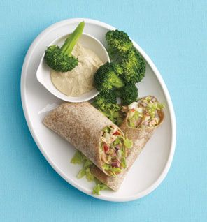 [sub] chicken & apple salad wrap- mix 5oz chopped chicken, 1/4 cup each chopped apple & chopped celery. combine 2 tsp balsamic vinegar, 1 tsp olive oil, 1 tsp honey, season with black pepper, & toss. spread on an 8-inch whole-wheat wrap & top with 1/2 cup chopped lettuce.