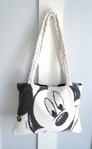Upcycle a thrift store Mickey Mouse tee into a tote bag.