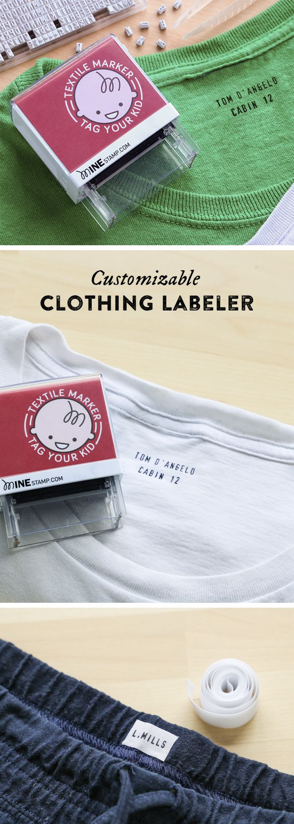 With one press, this customizable stamp labels clothes, backpacks, books, and more with wash-resistant ink.