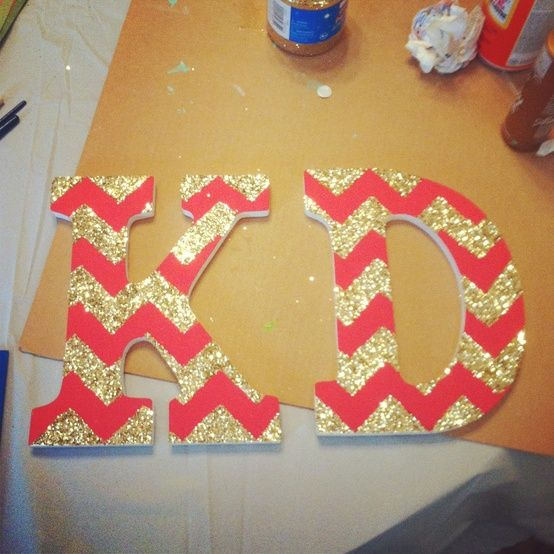 glitter chevron letters, could do initials for dorm room... but with APhi