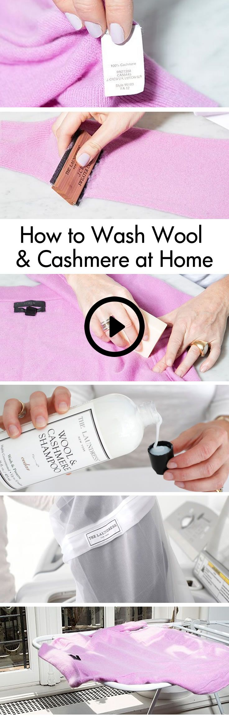 "Did you know 90% of your ""Dry Clean Only"" items can actually be machine washed? Save money and time by washing at home. Click to watch this step by step how-to video on washing winter knits, incluidng wool and cashmere, at home. #thelaundress"