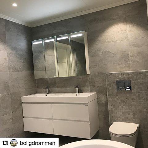 Nok ett nytt og lekkert baderom med MIE baderomsmøbel og Ida speilskap 😉 Takk til @boligdrommen som deler 🙌🏻🌸 #vikingbad #baderomsinspo #baderomsinspirasjon #baderomsmøbel #speilskap
