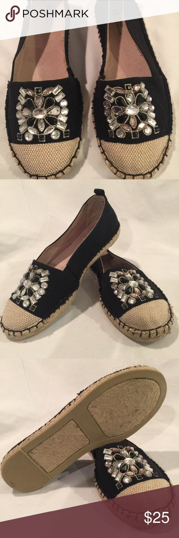 White Mountain Jeweled Espadrilles The jewels are so cool on these espadrilles. The chunky stitching in blacks looks great against the tan. New never worn. White Mountain Shoes Espadrilles