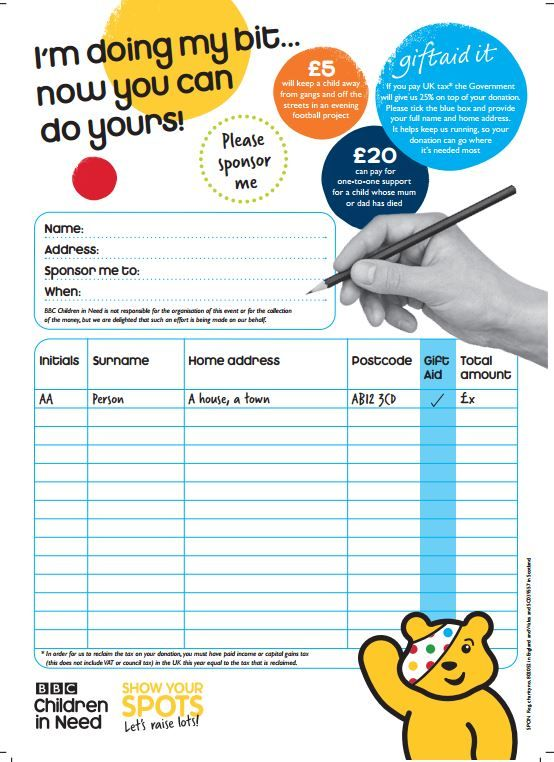 16 best Children in need activities images on Pinterest Learning - charity sponsor form template