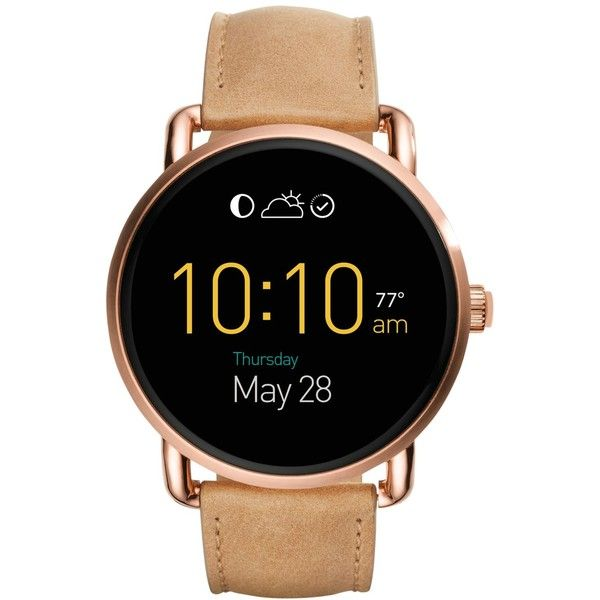 Fossil Women's Digital Q Wander Light Brown Leather Strap Smart Watch... ($295) ❤ liked on Polyvore featuring jewelry, watches, brown, fossil wrist watch, fossil watches, digital wrist watch, brown jewelry and brown watches