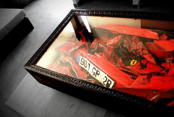 Painful Decorating: Crashed Ferrari Coffee Table by Molinelli Designs