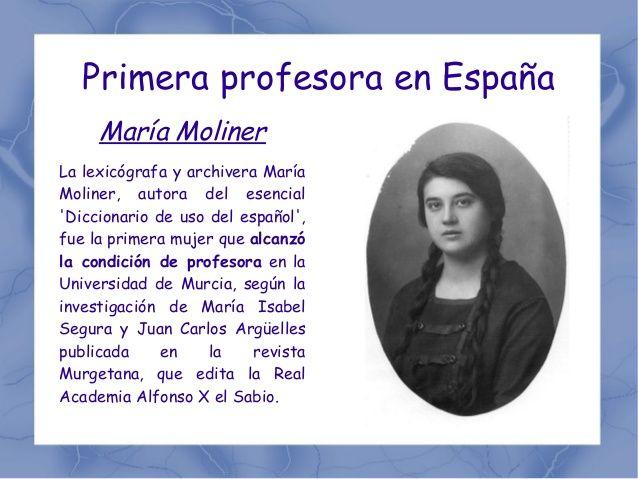 María Moliner fue la primera mujer profesora de la Universidad de Murcia. https://www.um.es/actualidad/gabinete-prensa.php?accion=vernota&idnota=38341 #MariaMoliner
