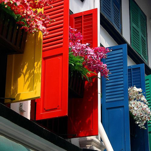 Color on the shutters and in the pots.