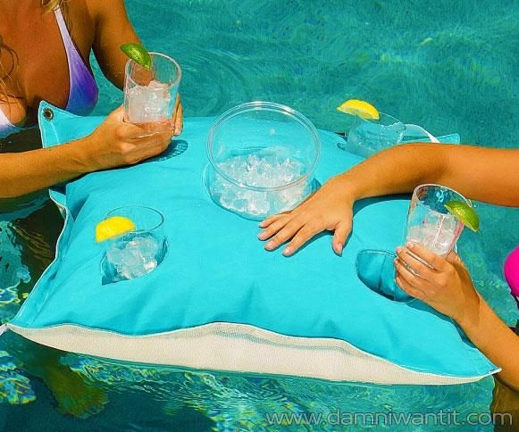 Don't you just hate it on a hot summer's day when you have to repeatedly get out of the pool to get rehydrated? The floating cocktail pillow eliminates that problem. It's basically a inflated caddy with 4 built-in cup holders and a built-in ice bucket holder It is made from stain-resistant fabric which doesn't fade. Also it doesn't get affected by mold. Don't let the fun stop!