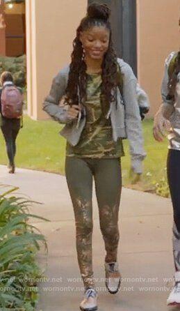 Skylar's camo print top and khaki leggings on Grown-ish