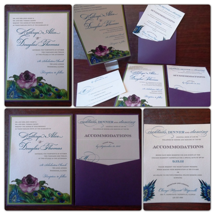 Bright and colorful peacock inspired wedding invitation