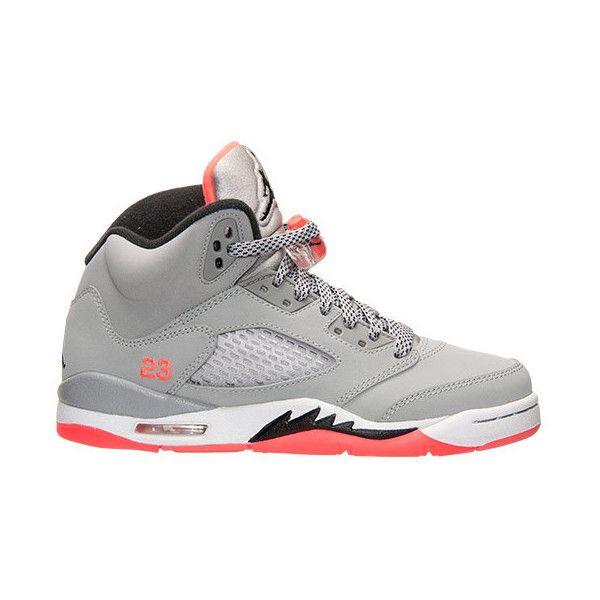 Girls' Grade School Air Jordan Retro 5 (3.5y-9.5y) Basketball Shoes ($140) ❤ liked on Polyvore featuring jordans, shoes, air jordan 5 and sneakers