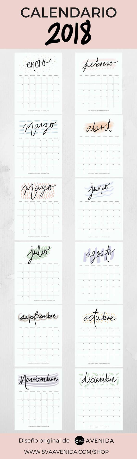 Calendario 2018 Dreams & Plans diseño original de 8va Avenida. Inicio de semana en lunes. Tamaño carta Planeación mensual. Descarga instantánea: PDF incluido. Descarga gratis fondos de pantalla mensuales a juego con el calendario en www.8vaavenida.com