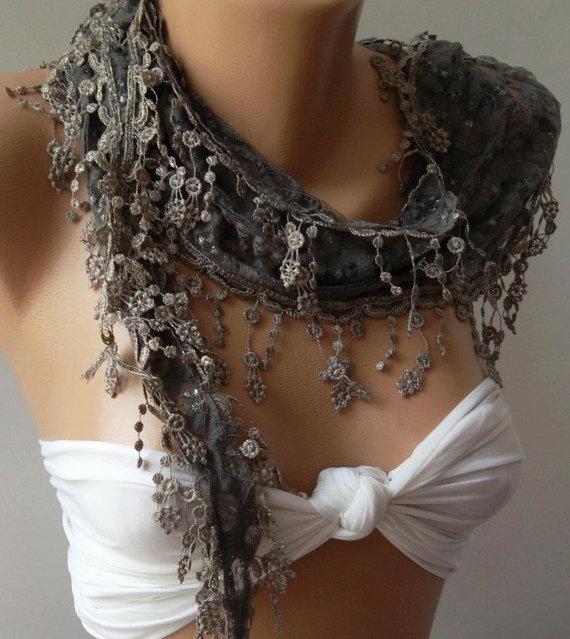 Grey / Elegance  Shawl / Scarf with Lacy Edge by womann on Etsy, $16.00
