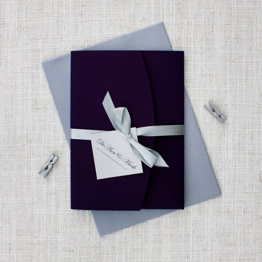 silver and purple pocketfold wedding invitations - http://bemyguest.co.nz/archives/item/darling-ducks-purple-pocketfold-wedding-invitation/