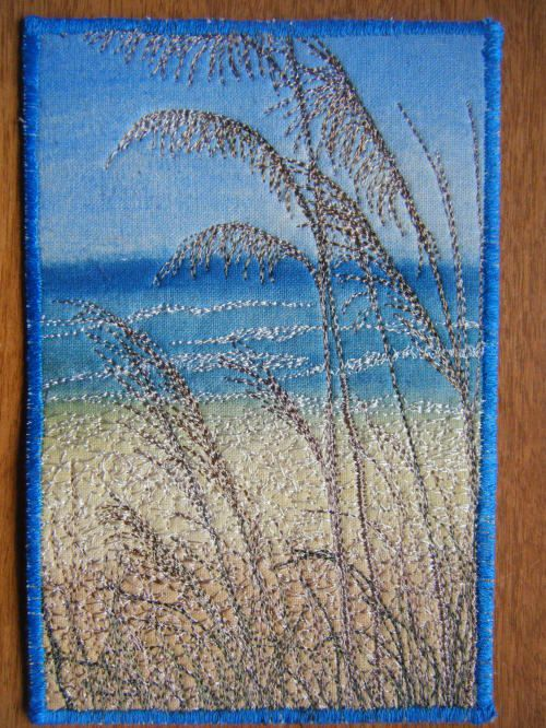 Made by Barbara Blackwell of Australia, for Linda Harriott in a thread painting theme swap.