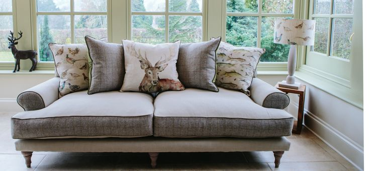 The Artemis Sofa from Curiosity Interiors, Alfreton. This luxury, super-soft, stylish sofa will seat 3; with woven & tartan fabric details and gorgeous Voyage Maison cushions. www.curiosityinteriors.co.uk