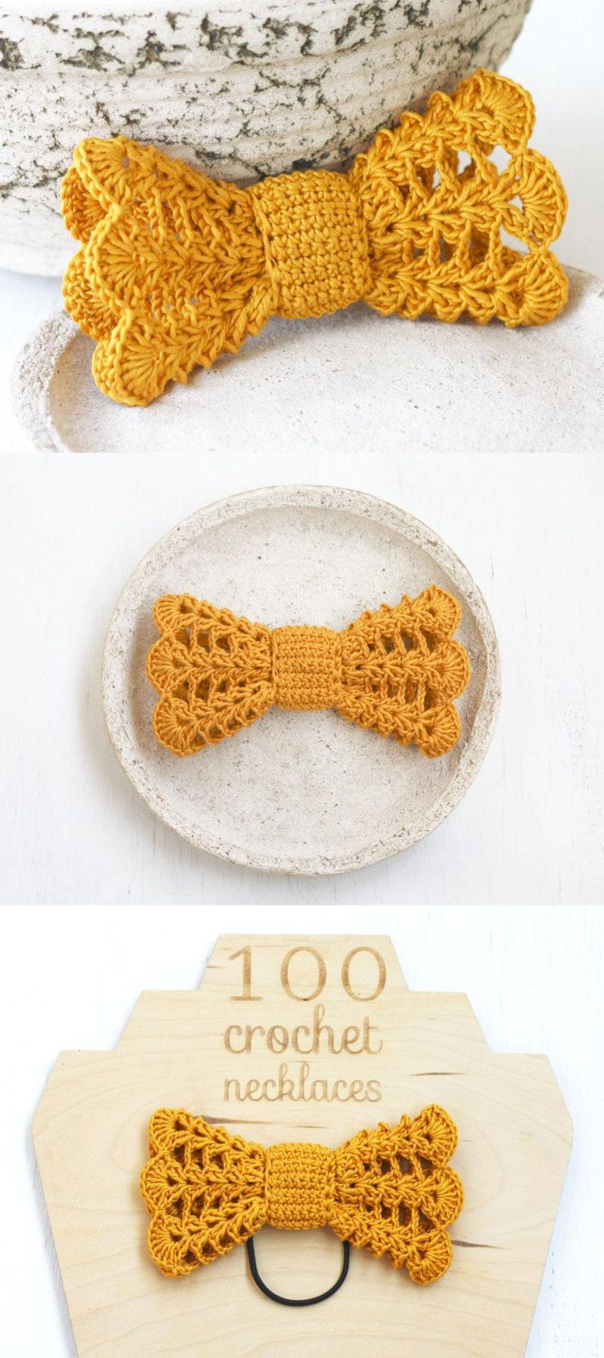 Mustard yellow crochet hair bow Vintage inspired hair accessory for women, girls Boho chic Gold lace - pinned by pin4etsy.com