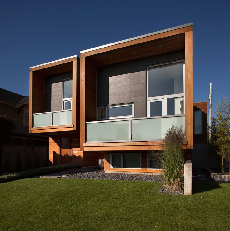 Wooden Facade Of Modern House Design Ideas With Glass Curtain Wall Also  Corals In Terrace Gallery Very Easy Small Amazing Hillside Pictures Villa  Cube Where ...