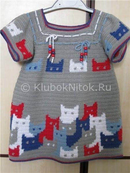 Платье с котиками   Вязание для девочек   Вязание спицами и крючком. Схемы вязания.