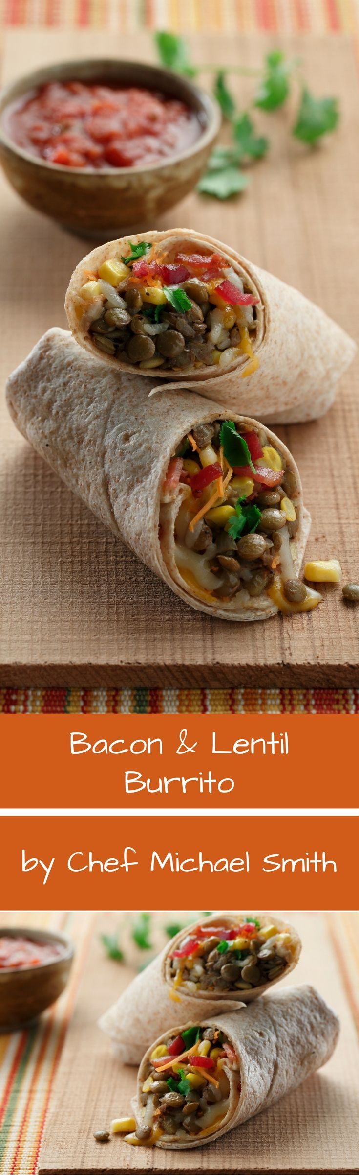 My kids love these burritos but they don't know why. I do though. Lentils are flavour sponges. Lentils do such a good job absorbing the bright sunny flavours of the southwest that no one notices the missing **** in this burrito. They notice the crisp smoky bacon though! Michael