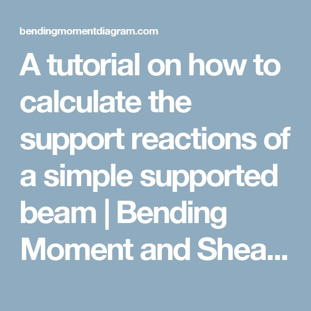A tutorial on how to calculate the support reactions of a simple supported beam   Bending Moment and Shear Force Diagram Calculator