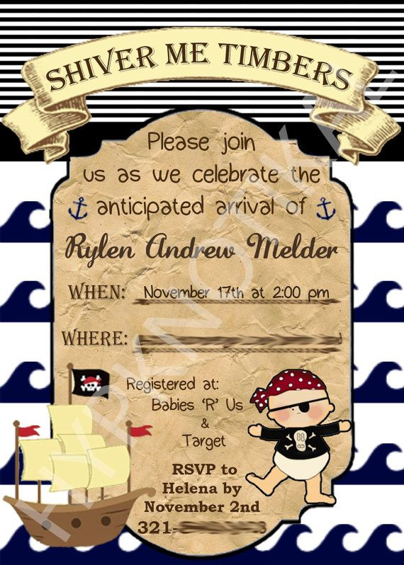 Too Cute! Nautical Pirate Baby Shower Ahoy it's a Boy by Hypknotikal on Etsy. Nautical, beach, invitation, pirate ship, anchor, map