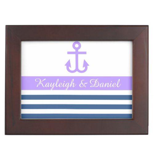 Modern Nautical Theme Wedding Keepsake Box