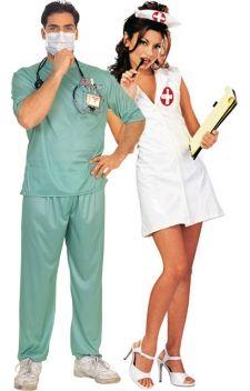 """Costumes de chirurgien, et de son assistante l'infirmière sexy, tout un symbole !  Opération réussie pour vos soirées déguisées sur les thèmes """"métiers"""", """"uniformes"""", ou encore à l' occasion du carnaval !"""
