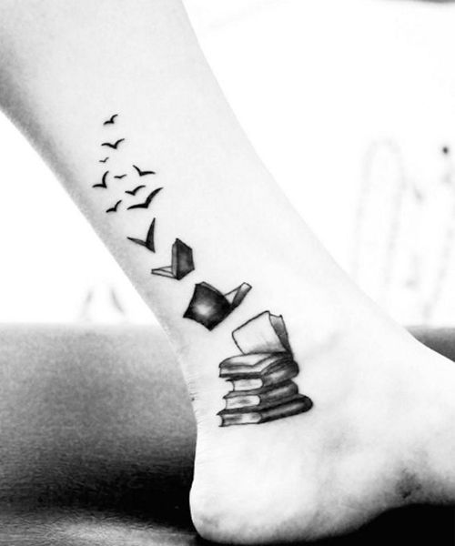 27 Cute Book Lover Tattoos on Ankle