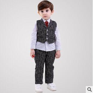 Комплектов одежды для малыша мальчиков осенью рубашки галстук хлопок тельняшка брюки мода англии стиль детской одежды 4 компл./лот