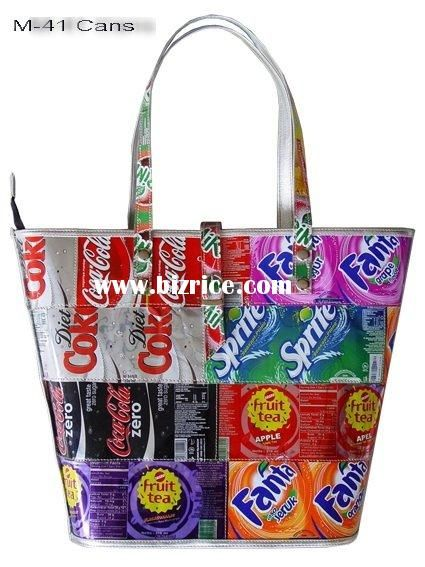 Handbag purse made using recycled recycle can cans reclaimed materials, post consumer, eco friendly green environmental fashion