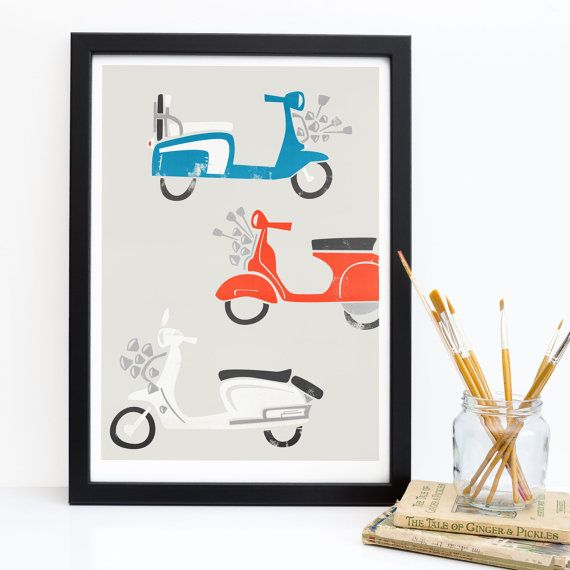 Scooter Art Print, Brighton Mod Print, Bike Art, Moped Art, Red White Blue, Gift For Boss, Father Gift, British Wall Art, Birthday Gift