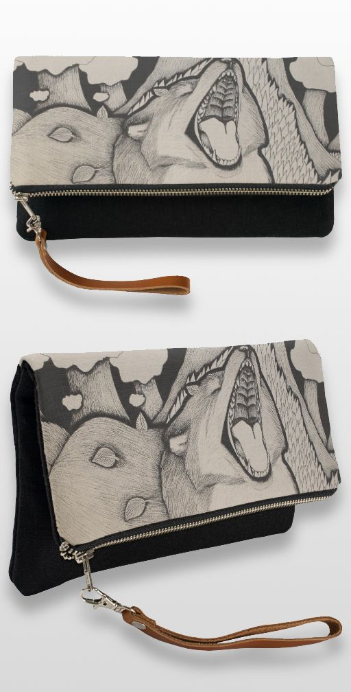 """Crybaby"" Black and white illustrated fox Clutch bag"