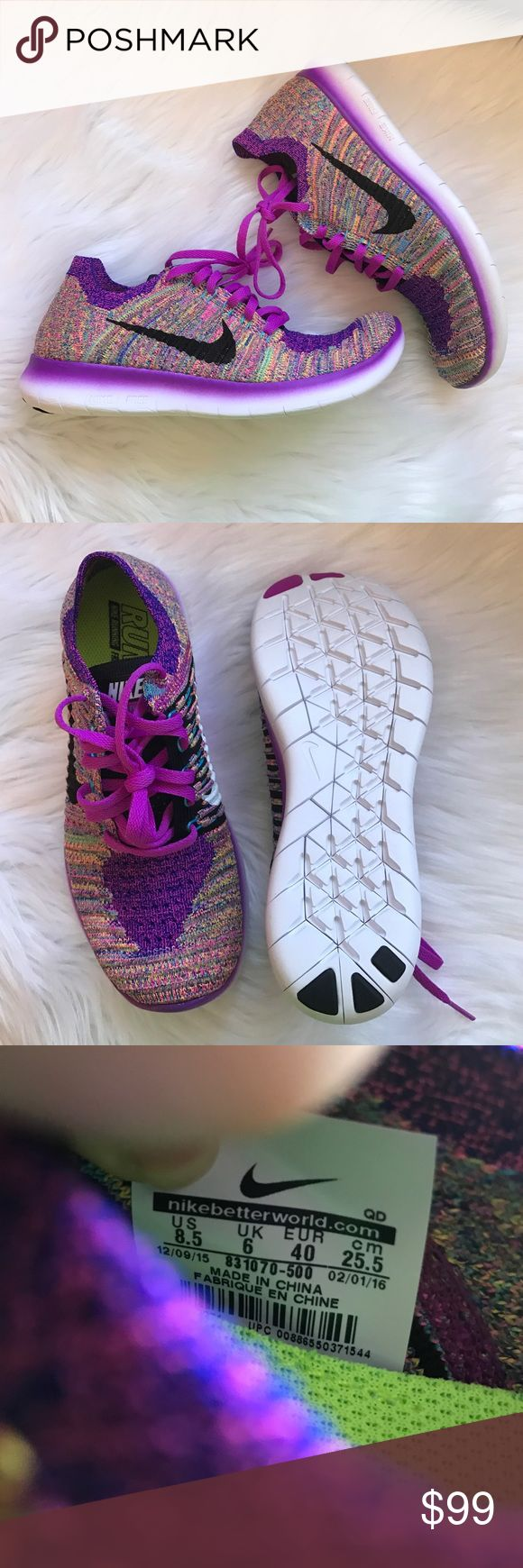 Nike Free Run Flyknit Sneakers Woman's Nike Free Run Flyknit Sneakers Purple multicolor with a black swoosh on the outside, white on the inside of the shoe Style: 831070-500 New with original box, no lid UPC will vary with size Nike Shoes Sneakers