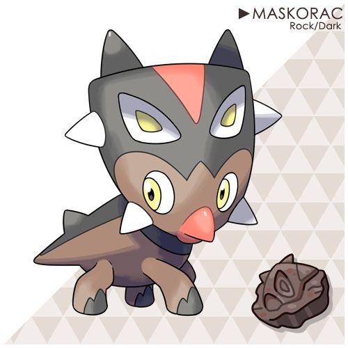 "Styrakade TheIntimidationPokémonAbility: Intimidate Hidden Ability: Battle ArmorType: Rock/Dark Height:4'03""Weight:308.6lbs. Evolution Maskorac evolves into..."