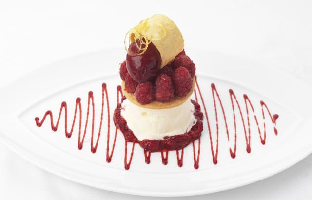 Scottish raspberries on an iced crème fraiché mousse
