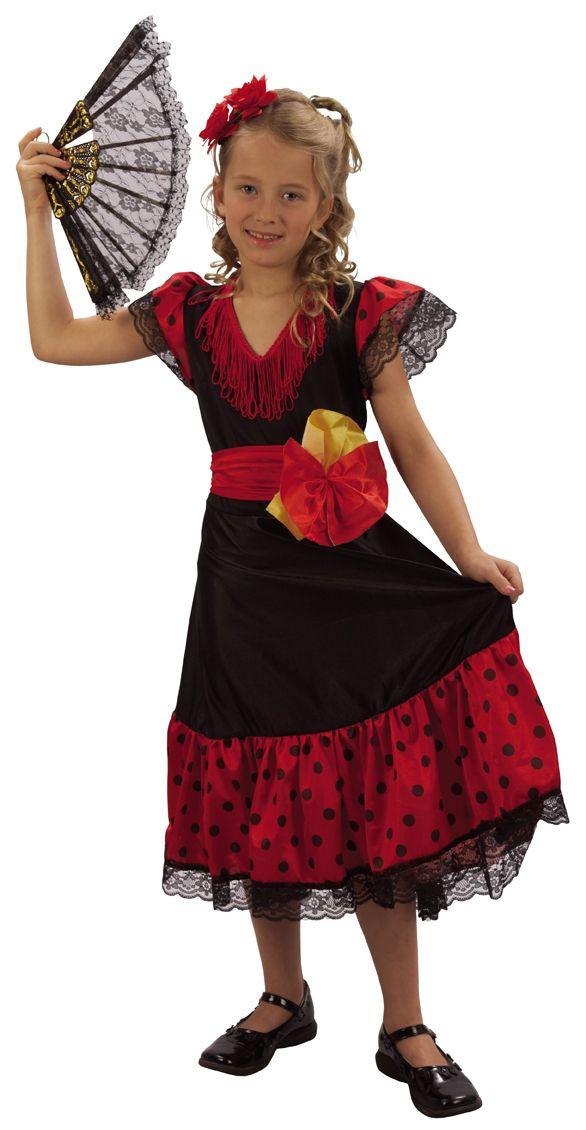 Spanierinnenkostüm für Mädchen: Spanisches Flamenco-Kostüm für Mädchen, bestehend aus einem rot-schwarzen Kleid, einem Gürtel und einem Haarreif (Schuhe nicht inbegriffen). Perfekt für Kostümpartys, Geburtstagsfeiern, Events.