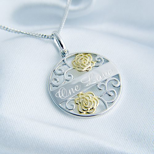 "Sterling Silver Pendant Gold Plated Filigree Engraved Message And 18""/45cm Chain"